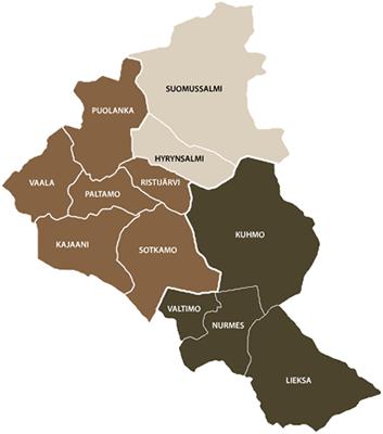 Kuhmo Oy:n puun hankinta-alueiden kartta